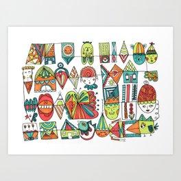 Jolly Character Sketch Art Print