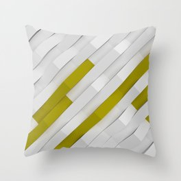 White matte plastic waves with Yellow elements Throw Pillow