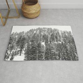 Mountain Snowfall // Snowy Peak Winter Landscape Photography Black and White Art Print Rug