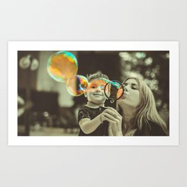 Mother and Son Blowing Bubbles Art Print