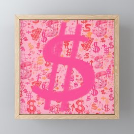 Pink Dollar Signs Framed Mini Art Print