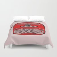 typewriter Duvet Covers featuring Poesía typewriter by andy_panda_