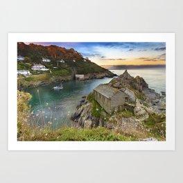 Sunset in Polperro, Cornwall Art Print