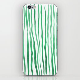 Vertical watercolor lines - green iPhone Skin