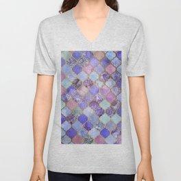 Royal Purple, Mauve & Indigo Decorative Moroccan Tile Pattern Unisex V-Neck
