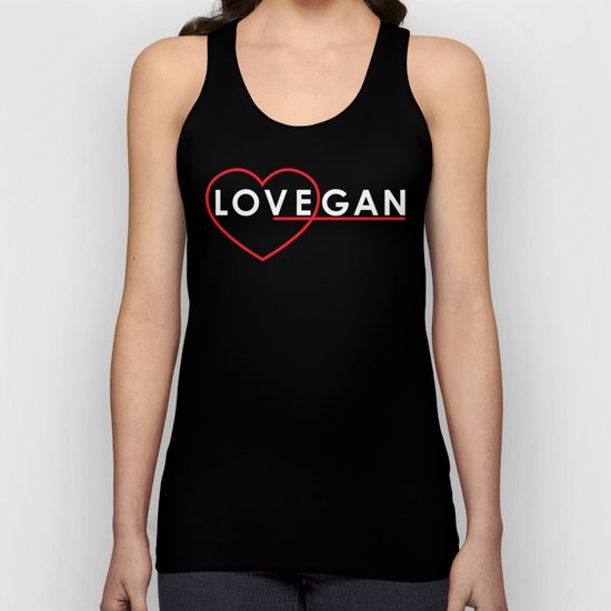 Lovegan (Love Vegan), on black Unisex Tank Top