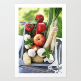 Wooden box with fresh fruit and vegetables Art Print