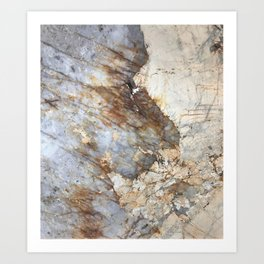 Browns, Creams, and Soft Blue Marble Art Print