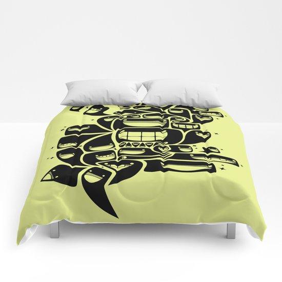 Happy Squiggles - 1-Bit Oddity - Black Version Comforters