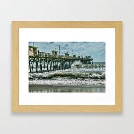 Surge Under The Pier Framed Art Print