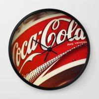 coca cola Wall Clocks featuring Coca-Cola by BeccAi