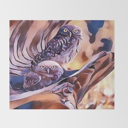 A Pair of Owls Throw Blanket