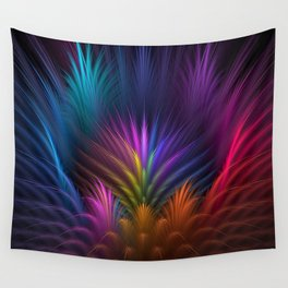 feathers, flower, petals, rays, line, volume, symmetrya Wall Tapestry