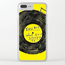 you are what you listen to FULL YELLOW Clear iPhone Case