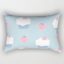 Cute cartoon cupcakes and strawberries pattern Rectangular Pillow