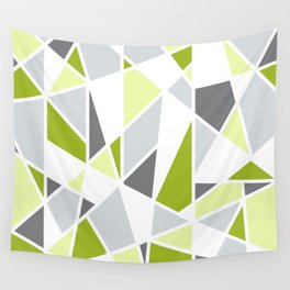 Geometric Pattern in Lime, Yellow, Gray Wall Tapestry