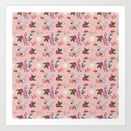 Eastern delight Japanese garden, pink. Art Print