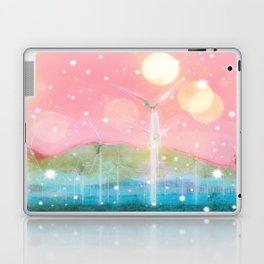 wind turbine in the desert with snow and bokeh light background Laptop & iPad Skin