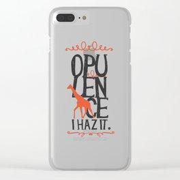Giraffe Opulence I Haz It Clear iPhone Case