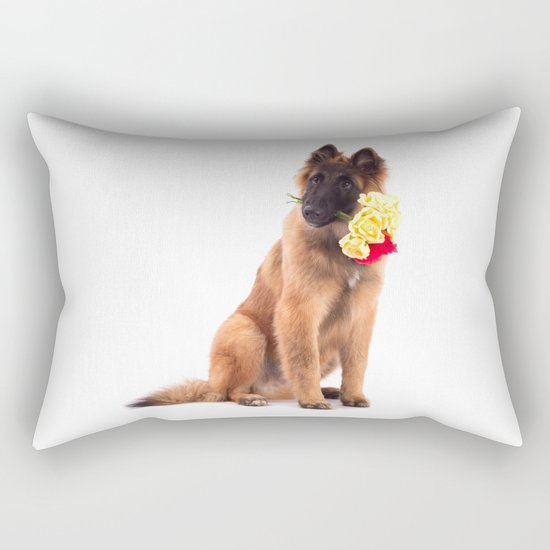 Puppy with roses  Rectangular Pillow