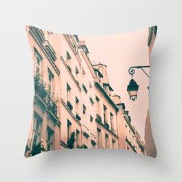 Paris Marais street Throw Pillow