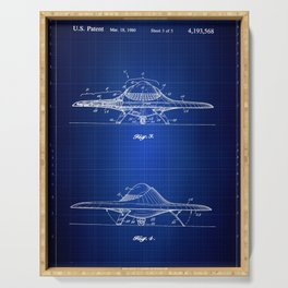 Real UFO Blueprint, Patent Wall Art, Outer Space, Fly Saucer Serving Tray