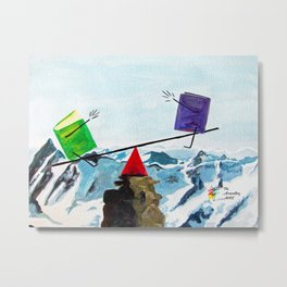 Balancing the Books on a Mountaintop See-Saw Metal Print