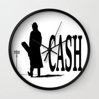 johnny cash Wall Clocks featuring CASH by shannon's art space