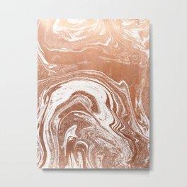 Marble suminagashi copper metallic japanese spilled ink watercolor ocean swirl marbling Metal Print