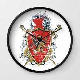 Griffin Shield - Swords - Coat of Arms Wall Clock