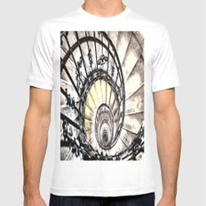 The Spiral Staircase White MEDIUM Mens Fitted Tee