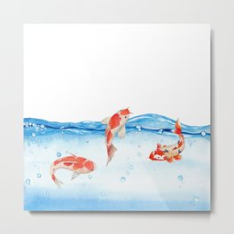Happy koi fish- fishes sea water lake Metal Print