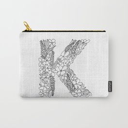 Floral Type - Letter K Carry-All Pouch