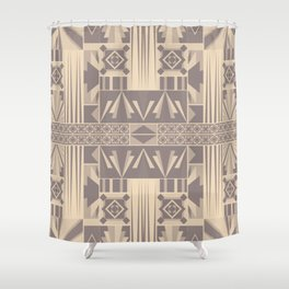 Art Deco Abstract Soft Beige Grey Shower Curtain