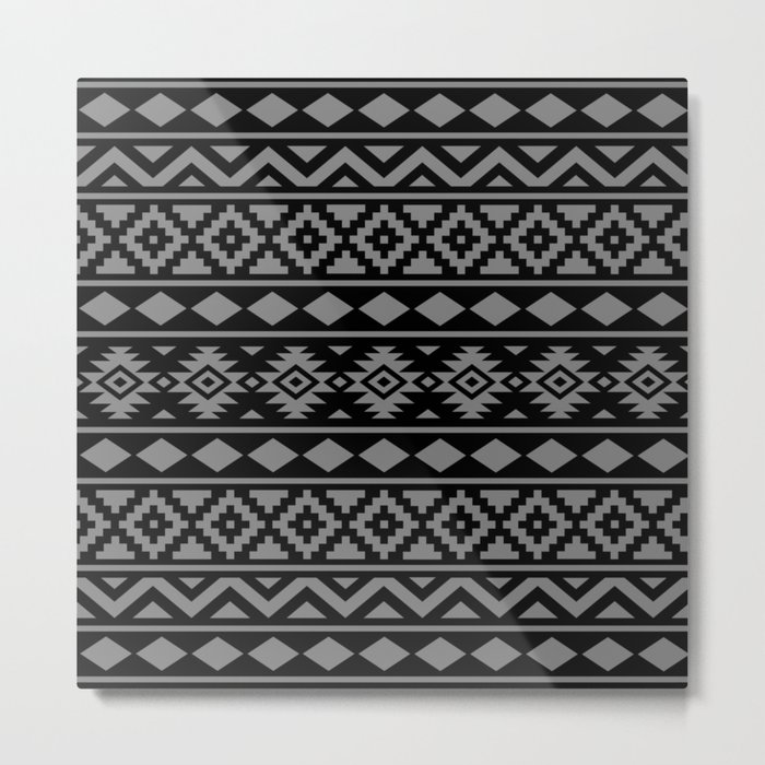 Aztec Essence Ptn III Grey on Black Metal Print