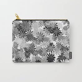 Gray Flowers Carry-All Pouch
