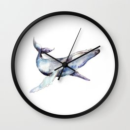 Watercolor Whale Wall Clock