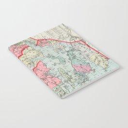 Vintage Map of Rhode Island (1887) Notebook