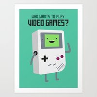 beemo Art Prints featuring Who wants to play video games?  by Dean Lord