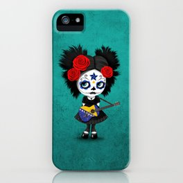 Day of the Dead Girl Playing Bosnian Flag Guitar iPhone Case