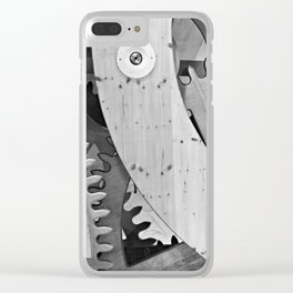 Wooden gears in black and white Clear iPhone Case