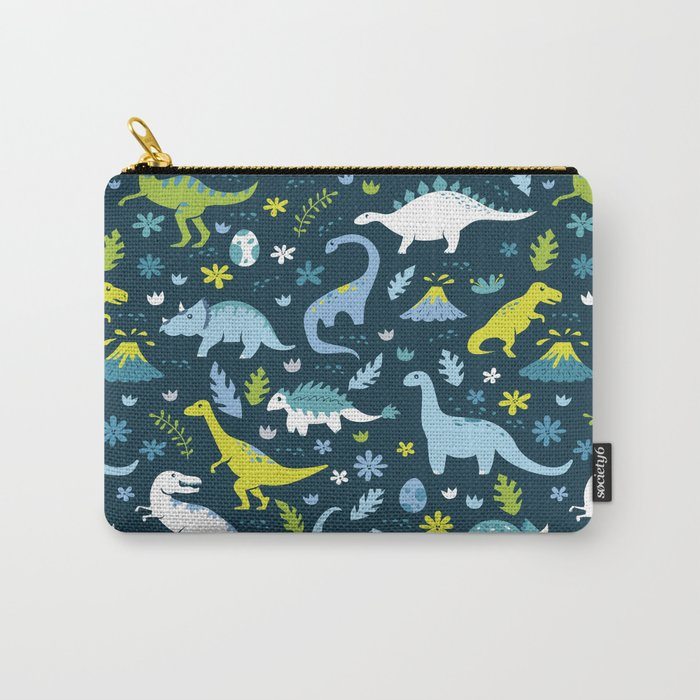 Kawaii Dinosaurs in Blue + Green Carry-All Pouch