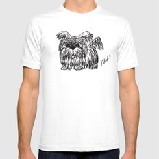 Woof :: A Dust Mop Dog White Mens Fitted Tee MEDIUM