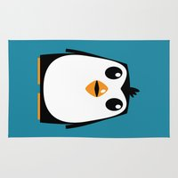 penguin Area & Throw Rugs featuring Penguin by Pig's Ear Gear
