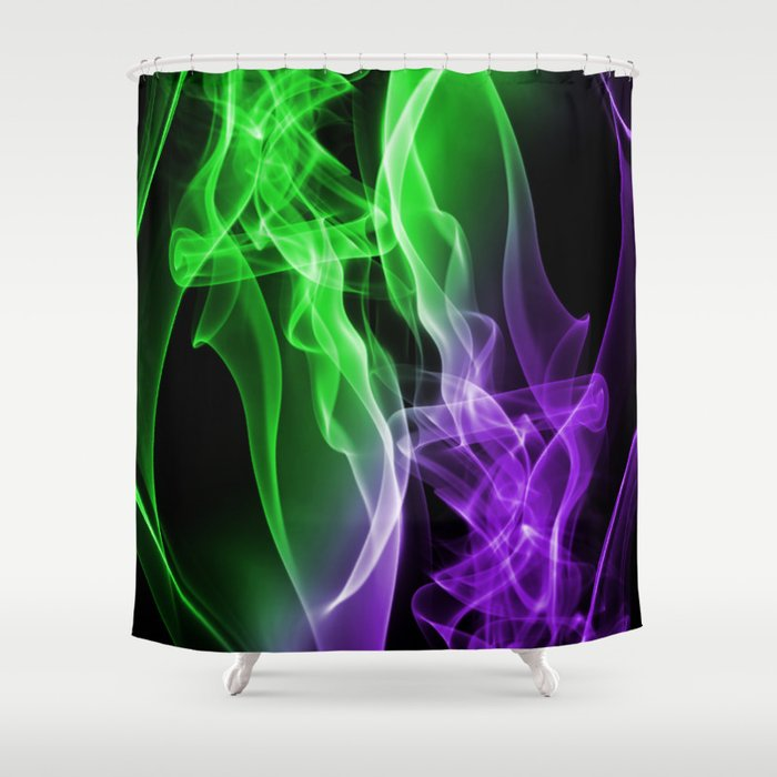 Smoke colour Green and purple Shower Curtain