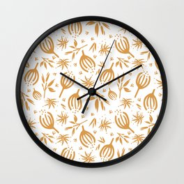 Wildflowers in gold Wall Clock