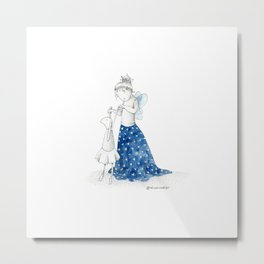 Little girl with blue skirt | Inkdrawing by Alison Metal Print