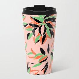 leaves pale pink Metal Travel Mug