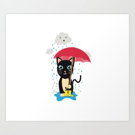 Cat in the rain with Umbrella Art Print