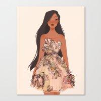 pocahontas Canvas Prints featuring Pocahontas by punziella